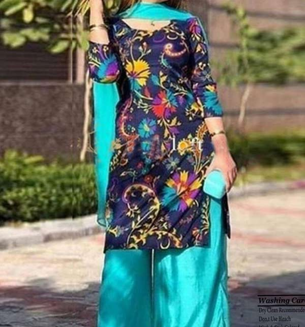 Linen Heavy Embroidered Suit Embroidery Trouser 2 Pec Dress (KD-122)