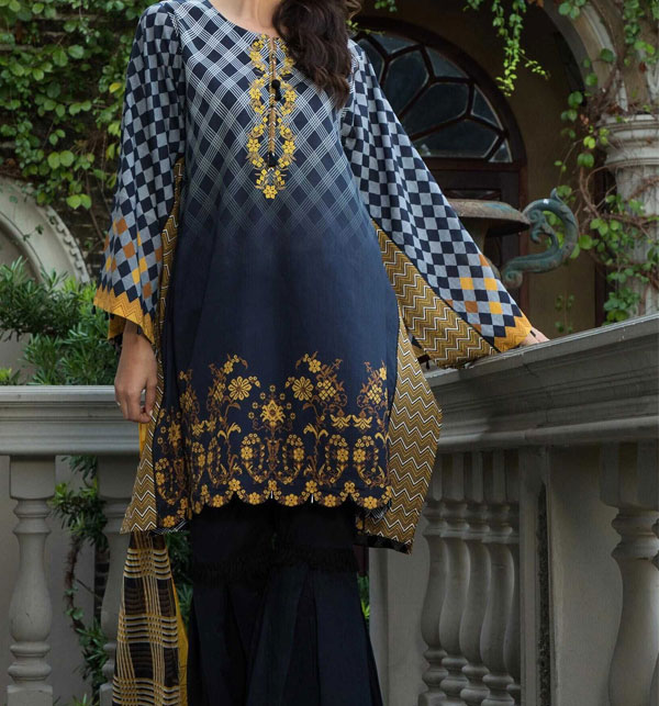 Embroidered Neckline Digital Printed Lawn Shirt with Chiffon Dupatta UnStitched (DRL-579)