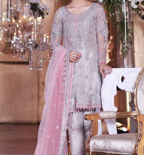 Embroidered Net Dress With Net Dupatta (CHI-50)