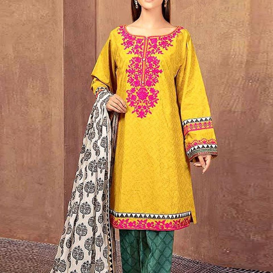 Embroidered Lawn Dress 2020 with Chiffon Dupatta Unstitched (DRL-420)