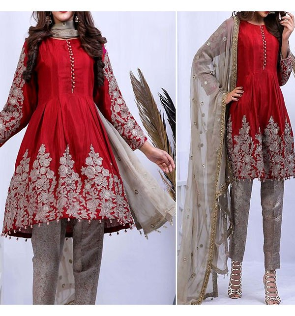 Embroidered Red Chiffon Dress with Net Dupatta (CHI-245) (Unstitched)