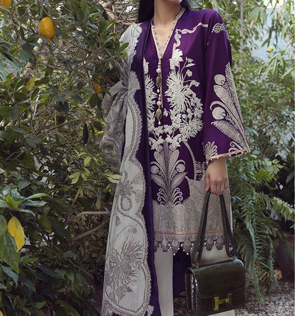 68d091af8ec49 Embroidered Lawn Suit Chiffon Dupatta (DRL-309) - UNSTITCHED FABRIC