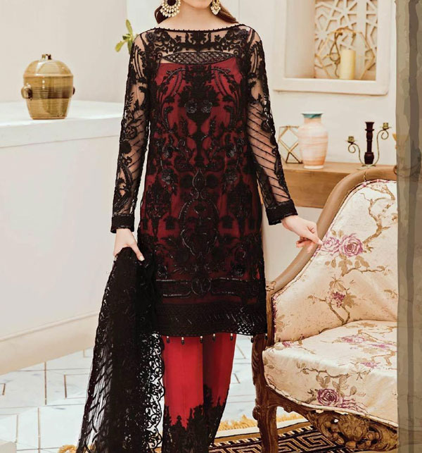 Luxury NET Embroidered Suite Heavy Net Embroidery Dupatta Unstitched (CHI-369)