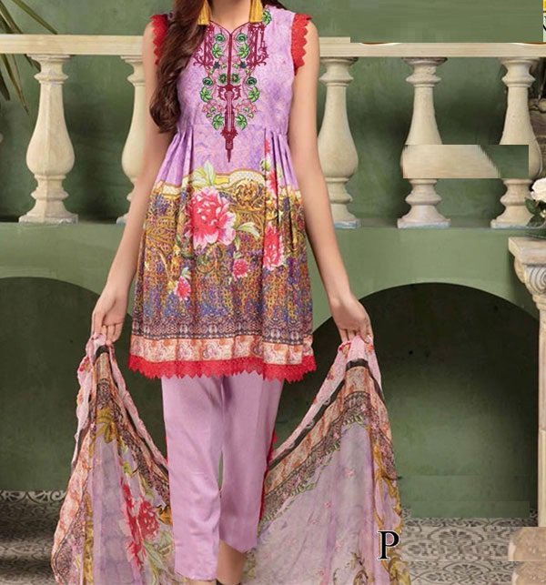 Embroidery Lawn Suit Collection 2019 With Chiffon Dupatta (DRL-282) (UnStitched)