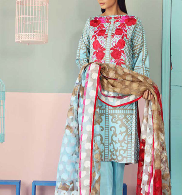 Embroidery Lawn Suit With CHIFFON Dupatta (DRL-301) (UnStitched)