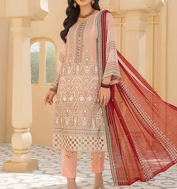 Fancy Chiffon Heavy Embroidered Dress With Chiffon Duppata (CHI-505)