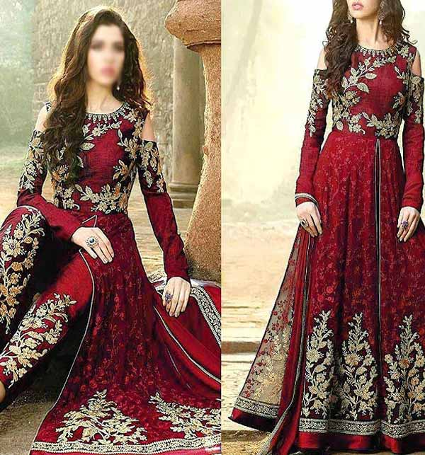 Fancy Indian Embroidered Chiffon Maxi Dress 2021 with 4-Side Embroidered Dupatta (CHI-432)