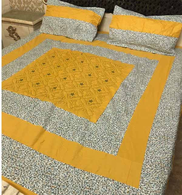 Fancy Wedding Cotton Bed Sheet With 2 Pillow Cover  (BCP-27)