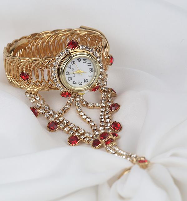 Golden Bracelet Watch With Panja Ring (BH-65)