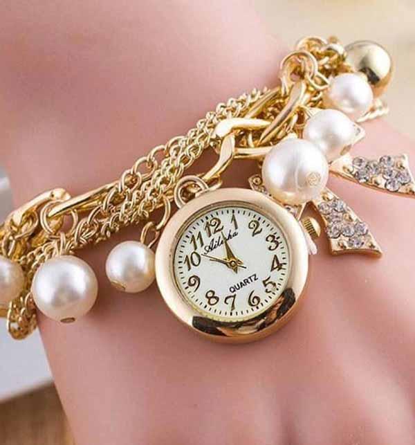 Fashionable Multi Layer Bow Charm Bracelet Watch (BH-55)
