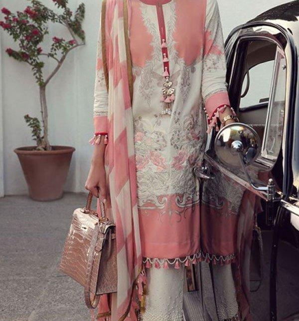 Linen Embroidered Dress With Chiffon Dupatta (Unstitched) (LN-58)