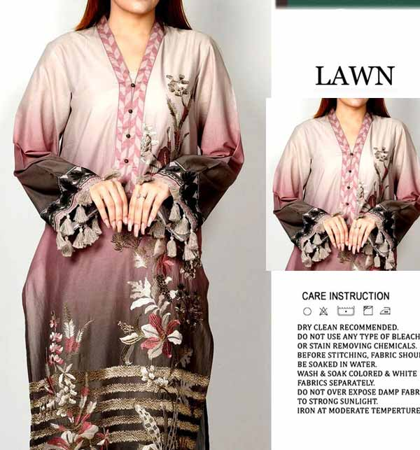 Front Embroidered Lawn Dress 2021 with Chiffon Dupatta (DRL-832)