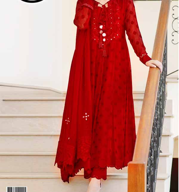 Full Embroidered Chiffon Dress With Heavy Embroidered Mirrorwork Chiffon Dupatta (CHI-463)