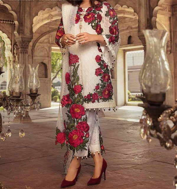 Party Wear Full Embroidered Chiffon Suit With Net Embroidered Dupatta (CHI-263) (Unstitched)