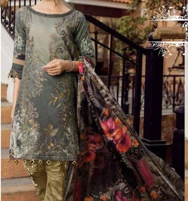 Full Embroidered Suit with Chiffon Dupatta Unsicthed  (DRL-895)