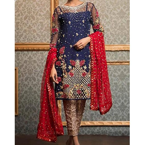 Full Embroidery Designer 3PC CHIFFON Suit With CHIFFON Dupatta (CHI-129)