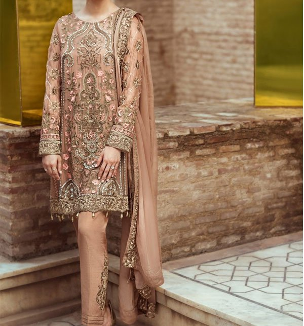 Full Heavy Embroidered Chiffon Suit With Chiffon Embroidered Dupatta (CHI-176)