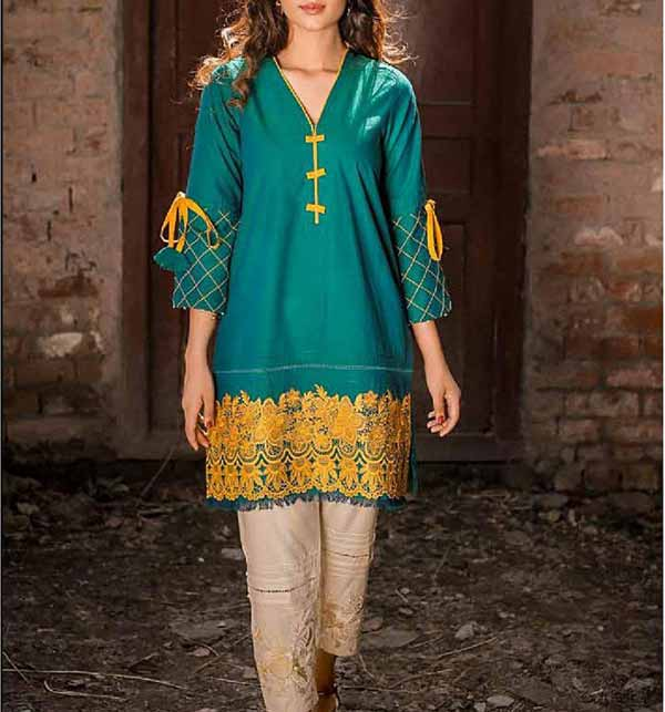 Full Heavy Lawn Embroidered 2 Pec Dress With Embroidered Trouser (DRL-905)
