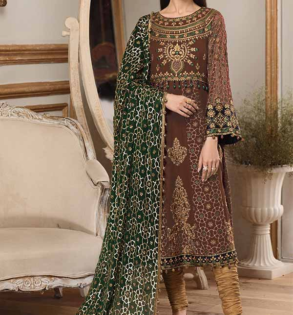 Full Heavy Lawn Embroidered Suit With Chiffon Duppata  (DRL-809)
