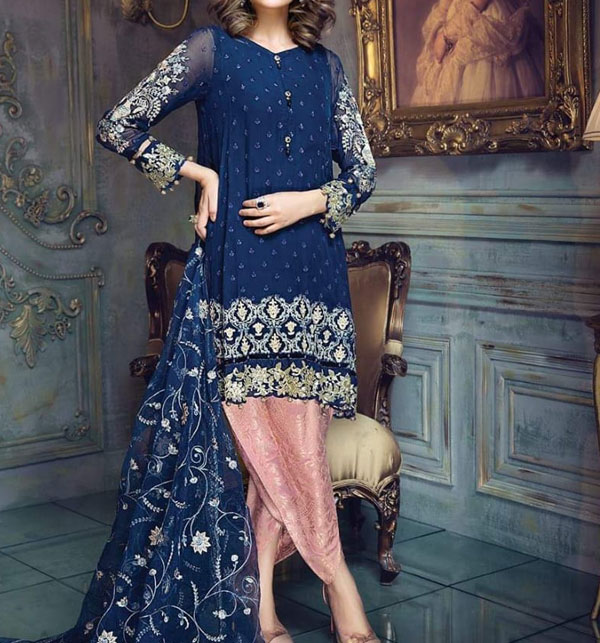 Fully Embroidered Chiffon 3 Pc Unstitched Suit With Embroidered Net Duppata (CHI-301)