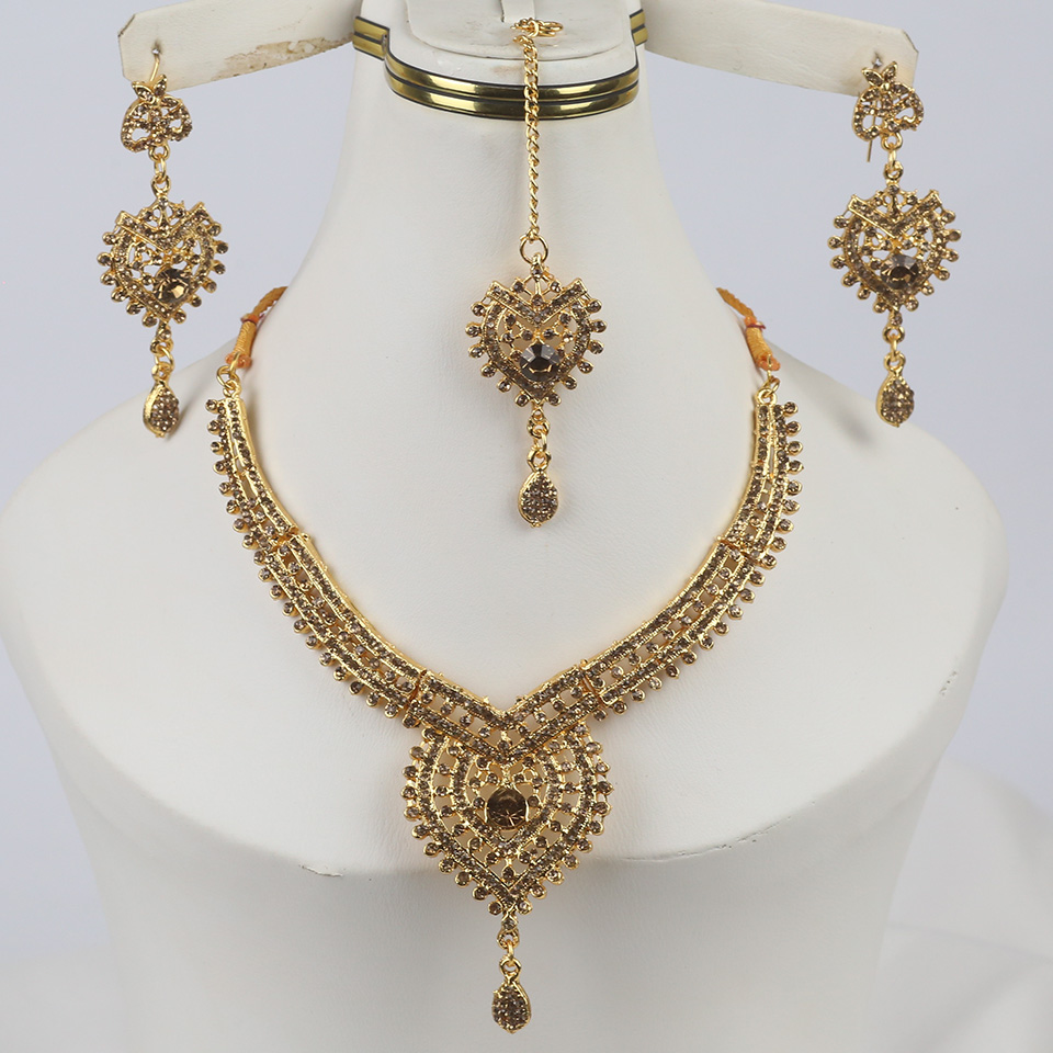 Golden Indian Jewelry Set For Girls (PS-327)