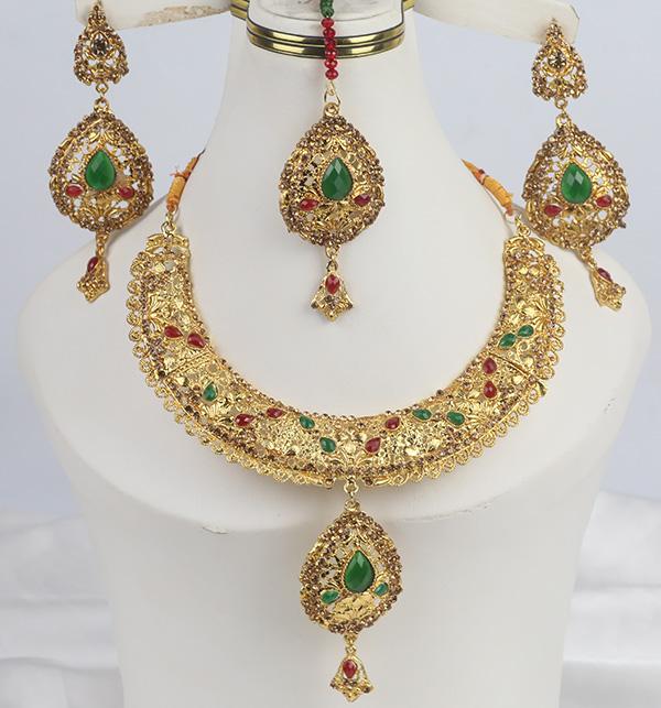 Golden Multicolor Stone Jewellery Designs 2021 For Women  (PS-341)