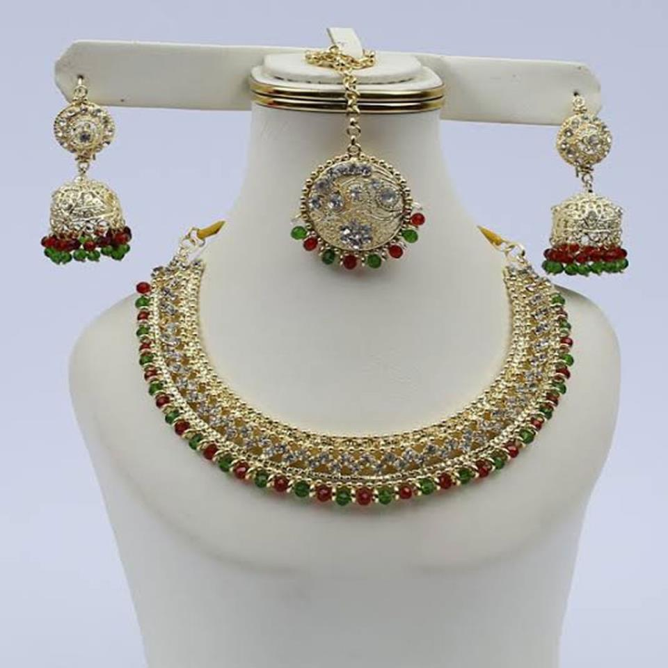 Multicolor Stone Stylish Jeweler Set with Matha Patti (PS-118)
