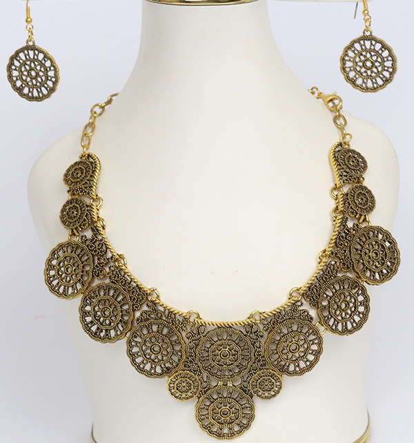 Golden Metallic Antique And Ethnic Indian Necklace Set (PS-179)