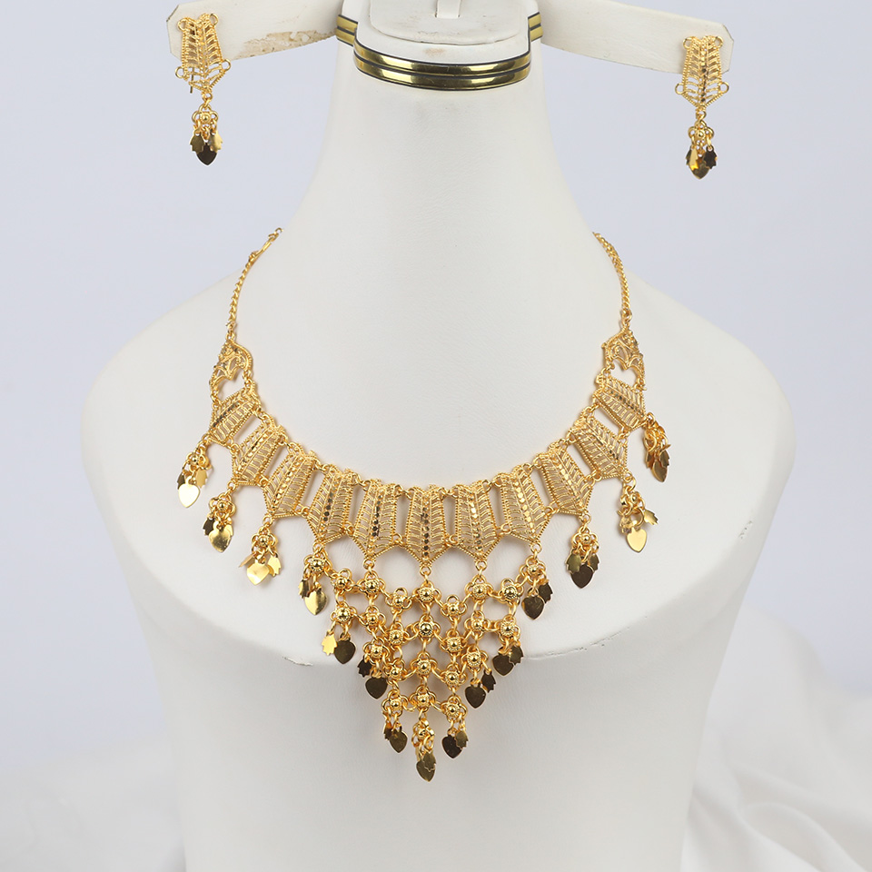 Golden Insdian Necklaces Jewelry Set Design 2021 For Girls (PS-321)
