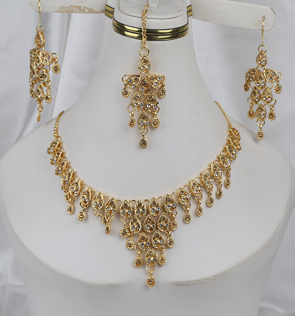 Golden Stylish Artificial Jewellery Set (PS-260)