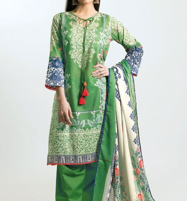 Green Embroidered Lawn Dress With Chiffon Dupatta (DRL-412) (Unstitched)