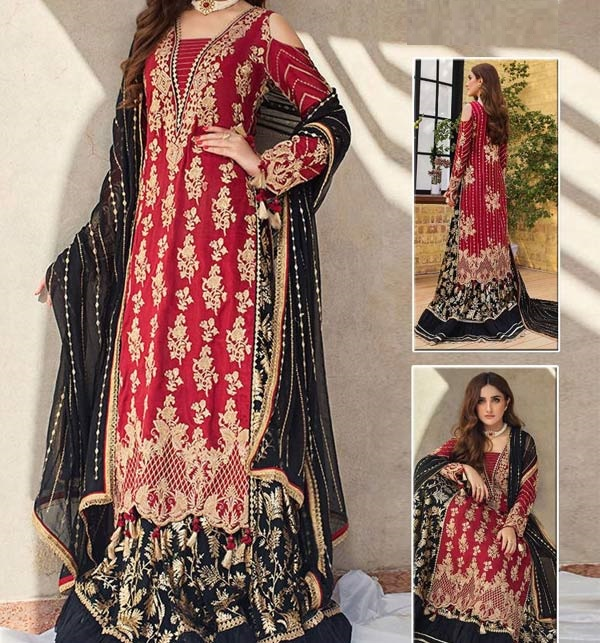 HandWork Chiffon Heavy Embroidery Suits Dress With Chiffon Embroidered Dupatta Unstitched (CHI-487)