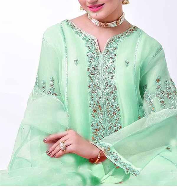 Handwork Embroidered Organza Wedding Dress with Inner (CHI-450)