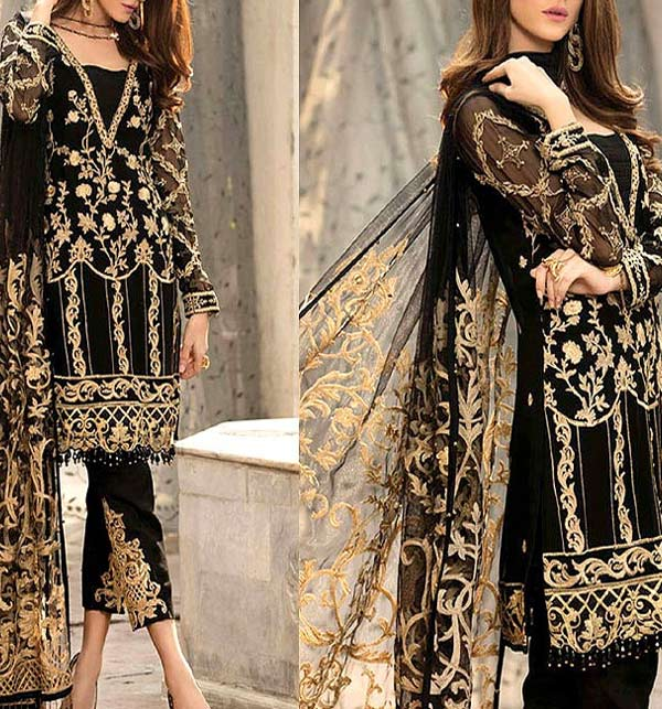 Heavy Embroidered Black NET Dress with Net Dupatta Unstitched (CHI-397)