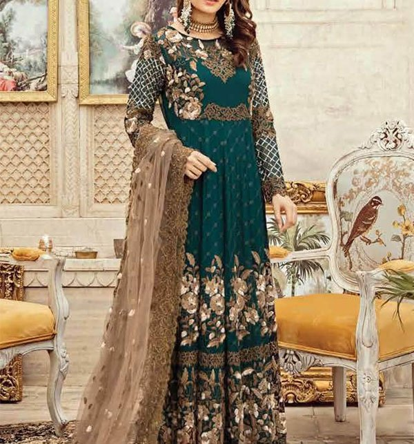 Heavy Embroidered Chiffon Dress with Net Dupatta (CHI-296) (UnStitched)