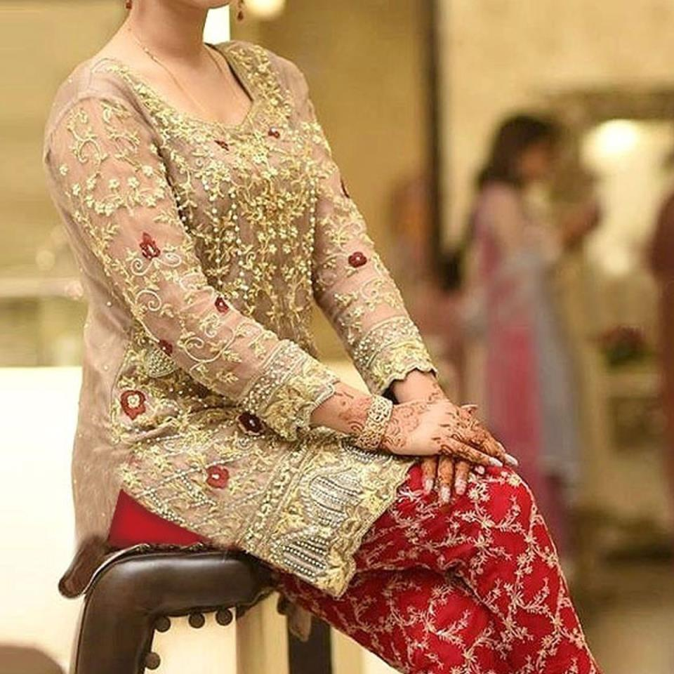 Heavy Embroidered Chiffon Wedding Dress 2020 with Embroidered Trouser - Unstitched  (CHI-318)