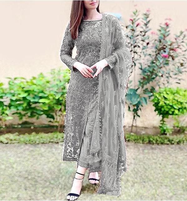 Heavy Embroidered Grey Net Formal Wedding Dress (CHI-466)