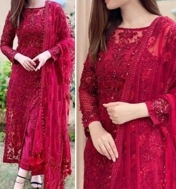 Heavy Embroidered Maroon Net Formal Wedding Suit (CHI-469)