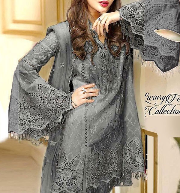NET Heavy Embroidered Dress Embroidered Net Dupatta UnStitched (CHI-385)