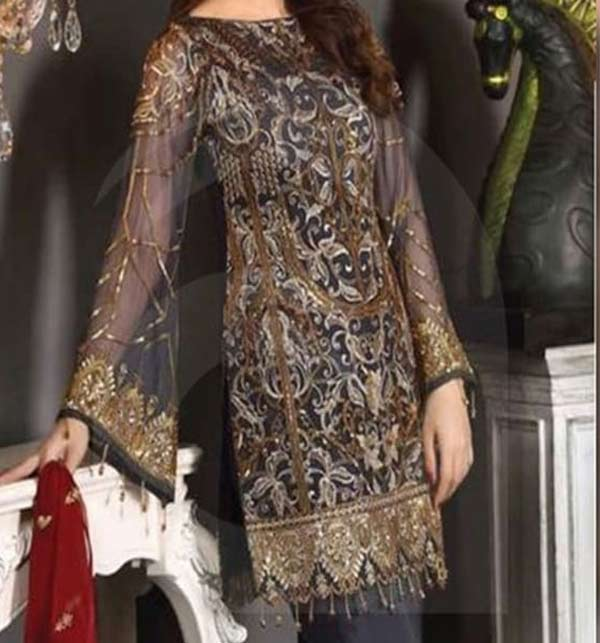Khaddar Embroidered Dress with Wool Shawl Dupatta (Unstitched) (KD-114)