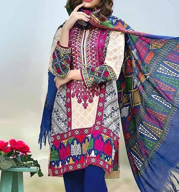 Heavy Embroidered Lawn Suit with Chiffon Dupatta  (DRL-724)