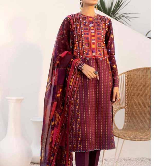 Heavy Embroidered Lawn Suit 2021 with Lawn Dupatta (DRL-783)