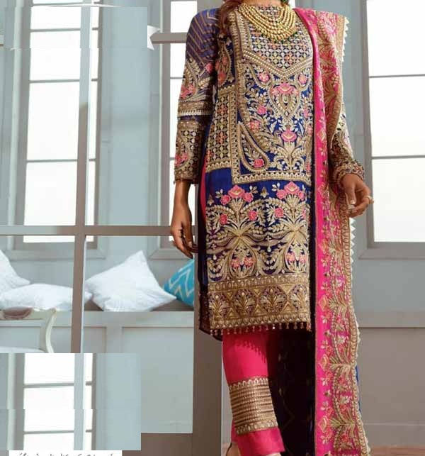 (AZADI SALE) Heavy Embroidered  Lawn Suit With Chiffon Dupatta (DRL-805) (Unstitched)