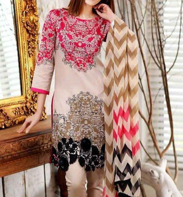 Linen Heavy Embroidered Dress with Wool Shawl Dupatta  (LN-83) (Unstitched)