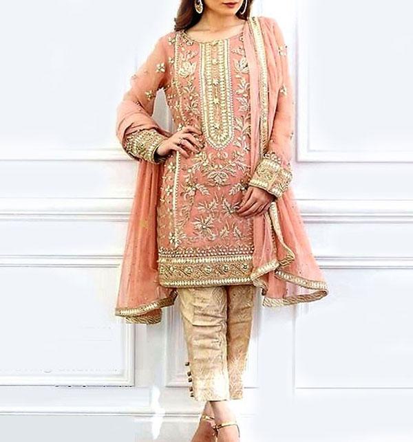 bb5215c2d18ba Heavy Embroidered Masoori Net Dress with Jamawar Trouser (CHI-278)  (Unstitched)