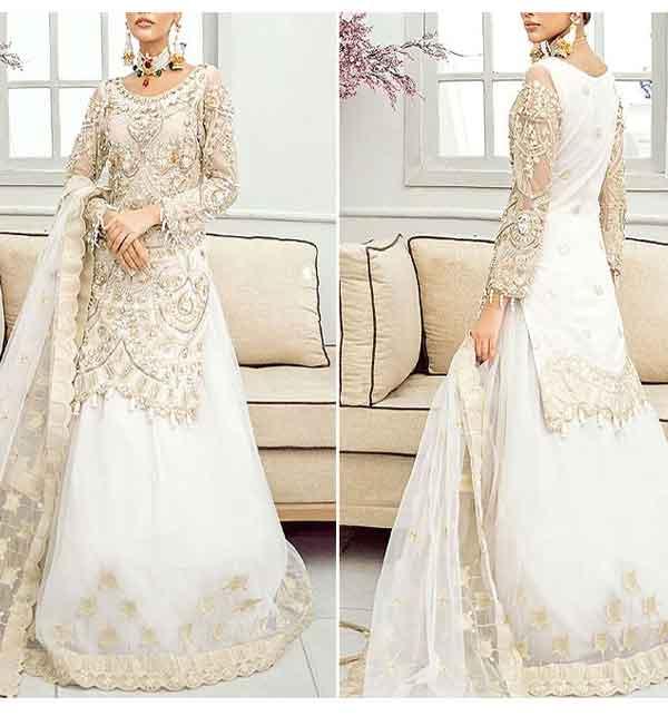 Heavy Embroidered Organza Bridal Lehenga Dress 2021 with Net Dupatta (CHI-422)