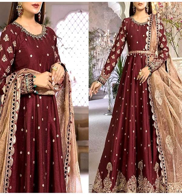 Heavy Embroidered Raw Silk Maxi Dress with Embroidered Khaddi Net Dupatta (CHI-489)