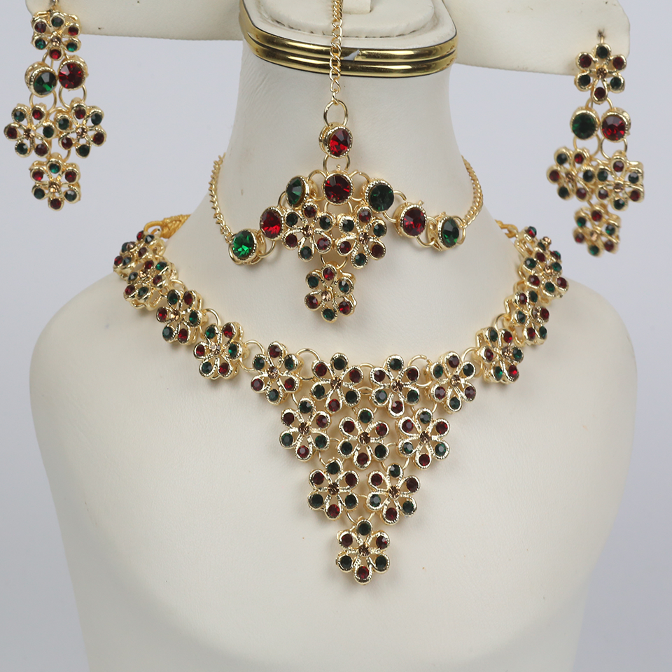 Heavy Multicolor Bridal Necklace with Earrings and Matha Patti (PS-249)