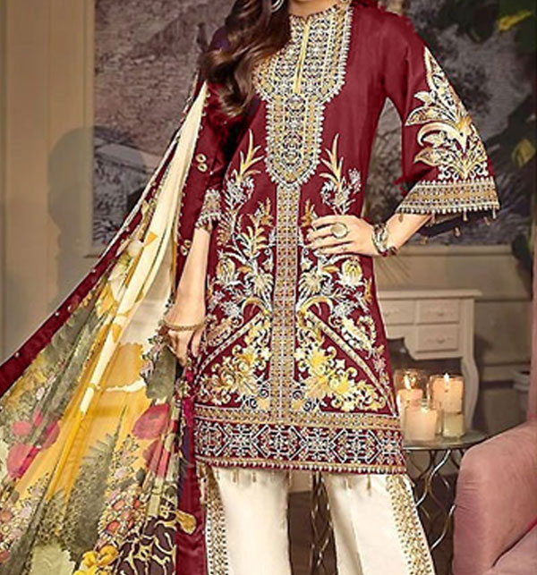 Heavy Neck Embroidered Lawn Dress 2020 with Chiffon Dupatta  UnStitched (DRL-571)