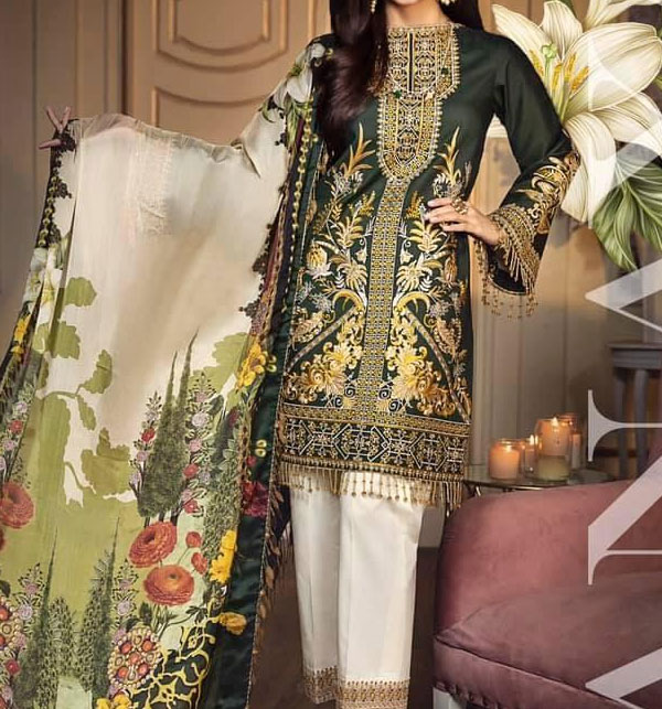 Lawn Embroidered Suits 2020 with Lawn Dupatta UnStitched (DRL-572)
